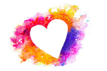 Watercolor heart silhouette