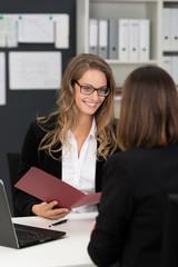 mitarbeiterin aus dem personalbüro im bewerbungsgespräch