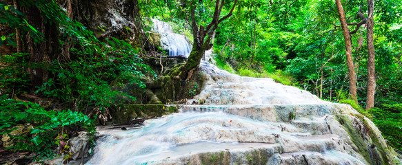 Wall Mural - wide scape of waterfall at Erawan National Park