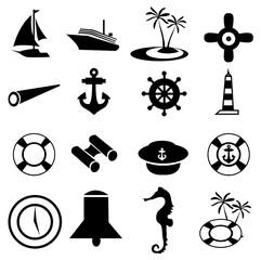marine nautical icons set
