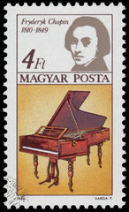 Stamp printed in Hungary shows  Frederic Chopin