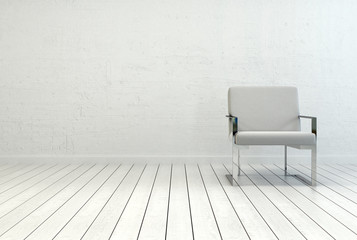 Elegant White Chair in an Empty White Room