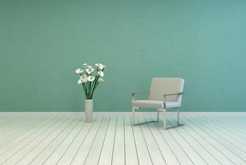 Elegant Flower Vase and Chair on Empty Room
