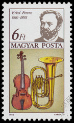 Stamp printed in Hungary shows Ferenc Erkel