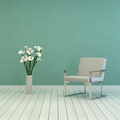 Elegant Flower Vase and Chair on Empty Room