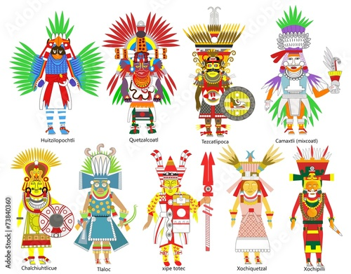 """""""A set of ancient Aztec gods and goddesses"""" Stock photo ..."""