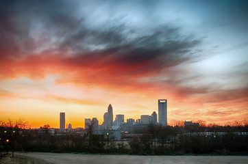 Fotomurales - charlotte north carolina city skyline and downtown