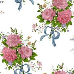 wallpaper vintage rose pattern on white background