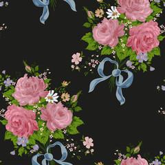 wallpaper vintage rose pattern on black background