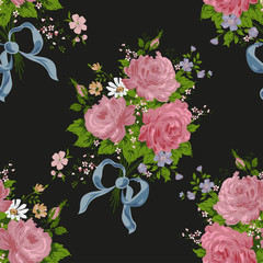 seamless vintage flower pattern on black background