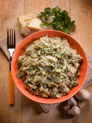 barley risotto with mushroom and parmesan cheese