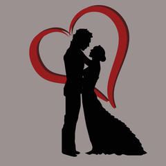 black silhouette of lovers embracing on a white background