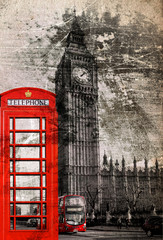 London Telefonzelle und Big Ben, Vintage