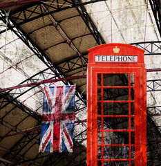 London Rote Telefonhzelle Im Bahnhof, Viontage