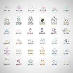Massage Icons Set - Isolated On Gray Background