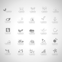 Garden Icons Set - Isolated On Gray Background