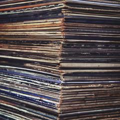 stack of vinyl records in envelopes