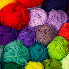Colorful different wool thread balls
