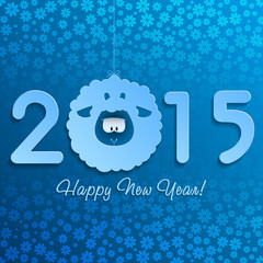 Symbol of New Year's lamb on blue with snowflakes