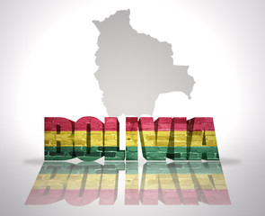 Word Bolivia on a map background