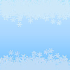 Vector light blue abstract winter background of snowflakes