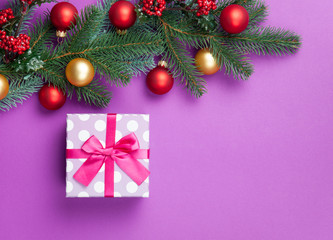 gift box and pine branches on violet background.