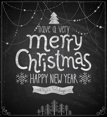 Wall Mural - Christmas poster - Chalkboard style.