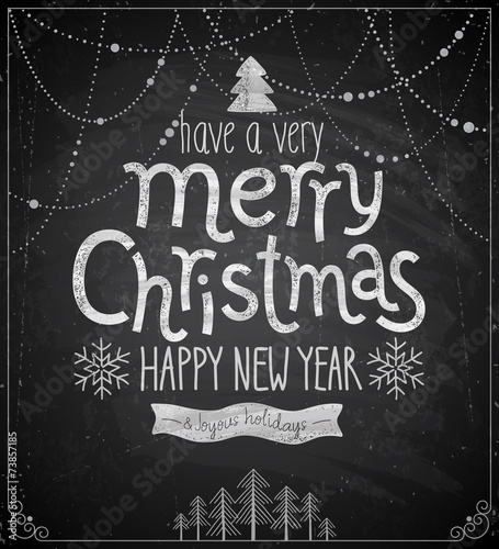Wall mural Christmas poster - Chalkboard style.