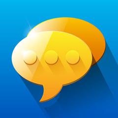 Shiny orange and yellow chat bubble symbols on blue backgro