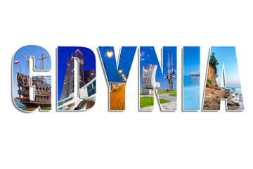 Gdynia sign made by collage of photos