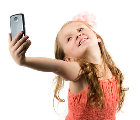 Little girl doing selfie