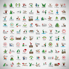 Christmas Icons And Elements Set - Isolated On Gray