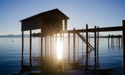 Elevated Pier Walkway to Boathouse Lake Tahoe City Sunrise