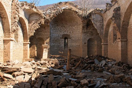 Interior of the submerged Church of Mavrovo Lake, Macedonia