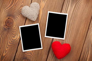Photo frames and valentines toy hearts