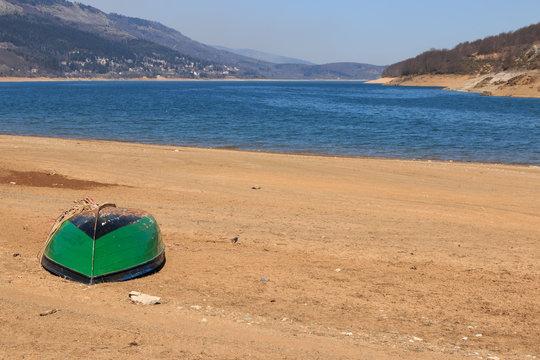 Boat in Mavrovo lake, Macedonia