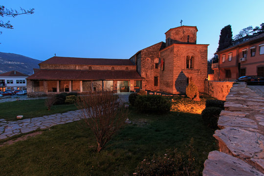 Church of St Sophia at dusk, Ohrid