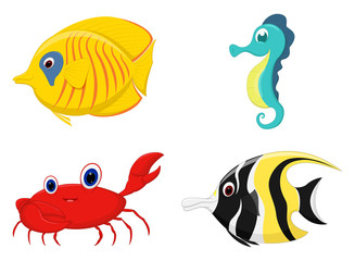 Sea fish cartoon set