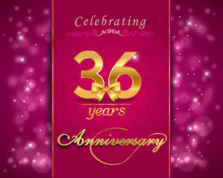 36 year celebration sparkling card, 36th anniversary