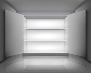 Open cabinet. Vector illustration.