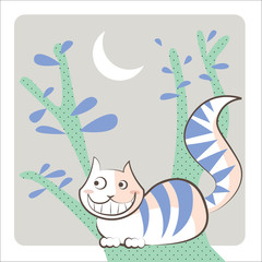 Cheshire Cat smiles under the crescent shaped moon
