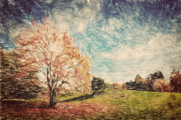Autumn park. Green hill in red leaves. Vintage art