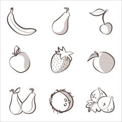Outline fruits set: banana, pear, cherry, apple, orange ecc