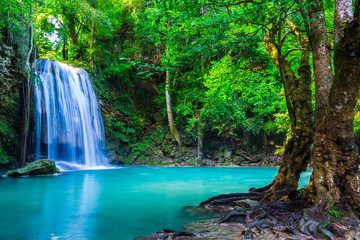 canvas print motiv - calcassa : waterfall in the tropical forest where is in Thailand National P