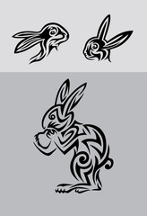 Rabbit tribal set, art vector tattoo design