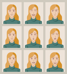 Facial expressions of a young woman. Flat