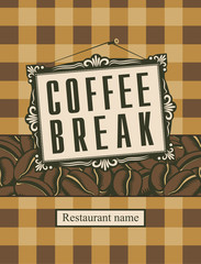 picture frame and the word coffee break and grains