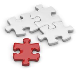 puzzle con tassello rosso