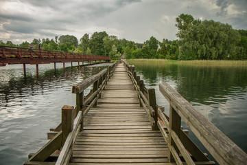 the swinging bridge over the lake