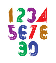 Handwritten vector numbers isolated on white background, painted